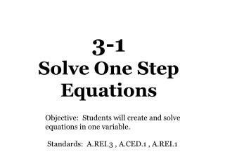 3-1  Solve One Step Equations