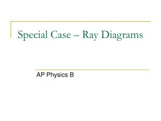 Special Case – Ray Diagrams