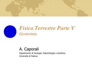 Fisica Terrestre Parte V Geotermia