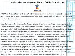 Muskoka Recovery Center- A Place to Get Rid Of Addictions