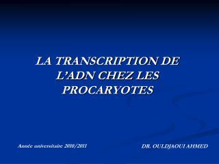 LA TRANSCRIPTION DE L�ADN CHEZ LES PROCARYOTES
