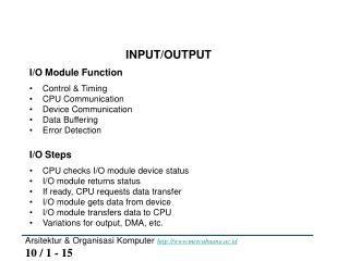 Arsitektur & Organisasi Komputer  mercubuana.ac.id 10 / 1 - 15