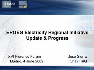 ERGEG Electricity Regional Initiative Update & Progress