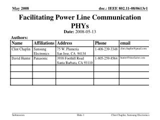 Facilitating Power Line Communication PHYs