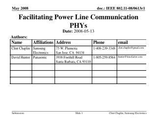 Facilitating Power Line Communication PHYs