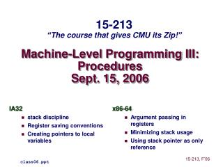 Machine-Level Programming III: Procedures Sept. 15, 2006