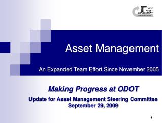 Asset Management  An Expanded Team Effort Since November 2005