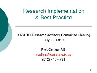 Research Implementation  & Best Practice