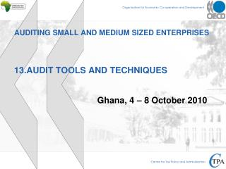 AUDITING SMALL AND MEDIUM SIZED ENTERPRISES 13.AUDIT TOOLS AND TECHNIQUES