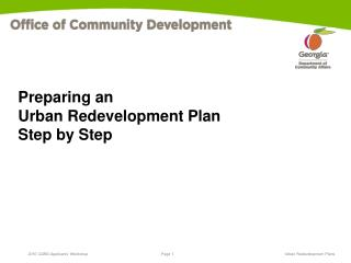 Preparing an  Urban Redevelopment Plan Step by Step