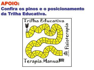 APOIO: Confira os pinos e o posicionamento  da Trilha Educativa.