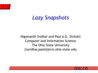 Lazy Snapshots