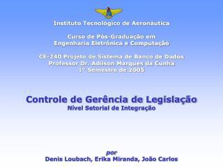 Instituto Tecnológico de Aeronáutica Curso de Pós-Graduação em  Engenharia Eletrônica e Computação