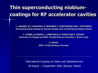 Thin superconducting niobium-coatings for RF accelerator cavities
