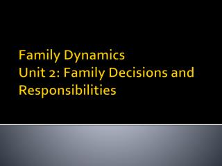 Family Dynamics  Unit 2: Family Decisions and Responsibilities