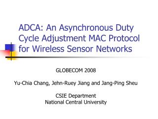 ADCA: An Asynchronous Duty Cycle Adjustment MAC Protocol for Wireless Sensor Networks