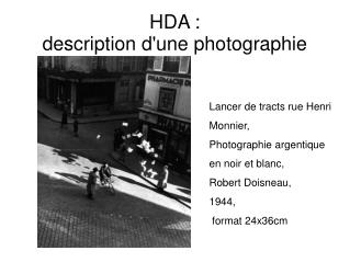 HDA :  description d'une photographie