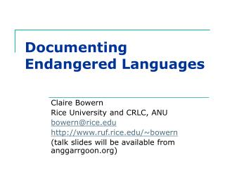 Documenting Endangered Languages