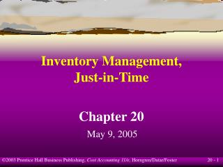 Inventory Management, Just-in-Time