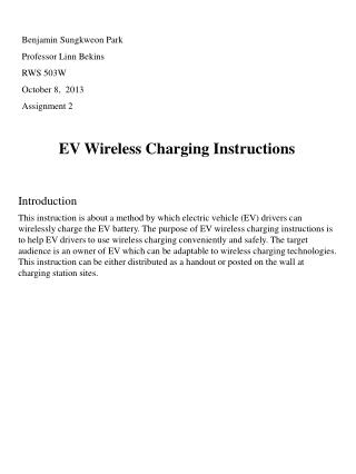 EV  Wireless  Charging Instructions