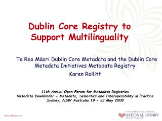 Dublin Core Registry to Support Multilinguality