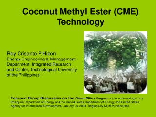 Coconut Methyl Ester (CME) Technology