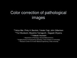 Color correction of pathological images