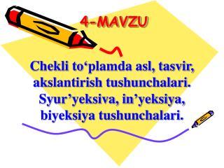 4-MAVZU