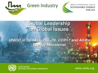 Global Leadership  on Global Issues  UNIDO in SE4ALL, Rio+20, COP17 and Africa Energy Ministerial