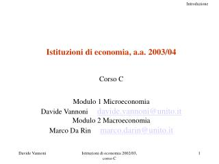 Istituzioni di economia, a.a. 2003/04 Corso C Modulo 1 Microeconomia