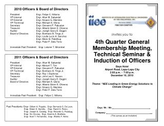 invites you to 4th Quarter General Membership Meeting, Technical Seminar & Induction of Officers