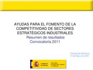 AYUDAS PARA EL FOMENTO DE LA COMPETITIVIDAD DE SECTORES ESTRAT GICOS INDUSTRIALES  Resumen de resultados  Convocatoria 2