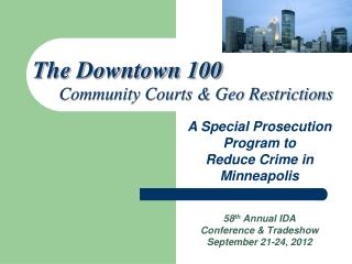 58 th  Annual IDA  Conference & Tradeshow September 21-24, 2012