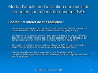 Mode d'emploi de l'utilisation des outils de requêtes sur la base de données SAE