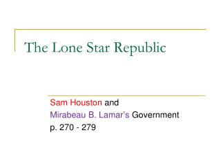 The Lone Star Republic