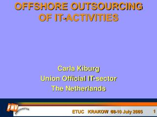 OFFSHORE OUTSOURCING OF IT-ACTIVITIES