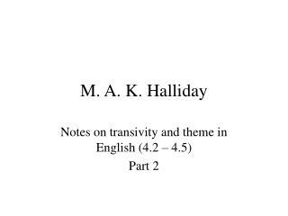 M. A. K. Halliday