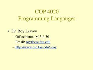 COP 4020 Programming Langauges