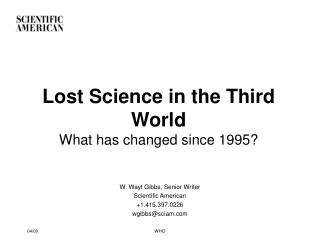 Lost Science in the Third World What has changed since 1995?