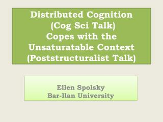 Ellen Spolsky Bar-Ilan University