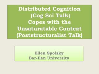 Ellen Spolsky Bar-Ilan University