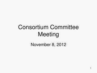 Consortium Committee Meeting