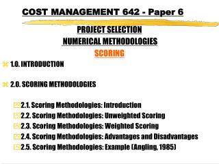 COST MANAGEMENT 642 - Paper 6