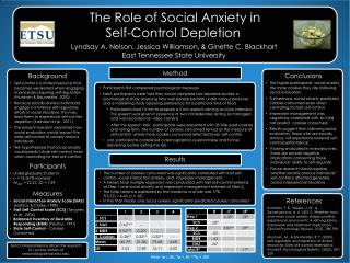 The Role of Social Anxiety in  Self-Control Depletion