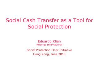 Social Cash Transfer as a Tool for Social Protection