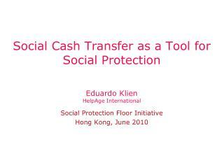 Social Cash Transfer as a Tool for Social Protection
