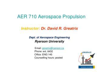 AER 710 Aerospace Propulsion