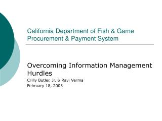 California Department of Fish & Game Procurement & Payment System