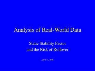 Analysis of Real-World Data