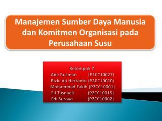 Manajemen Sumber Daya Manusia dan Komitmen Organisasi pada  Perusahaan Susu